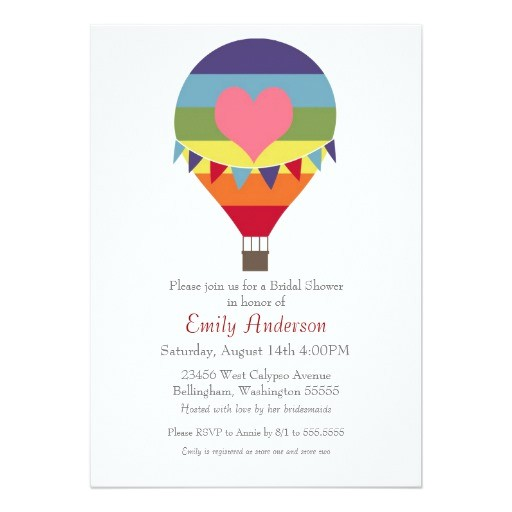 rainbow hot air balloon bridal shower invitations