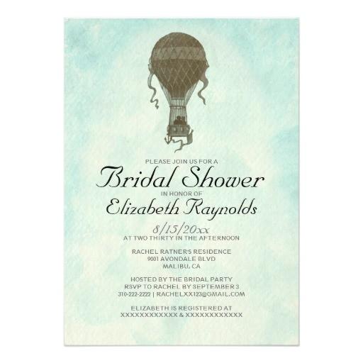 vintage hot air balloon bridal shower invitations