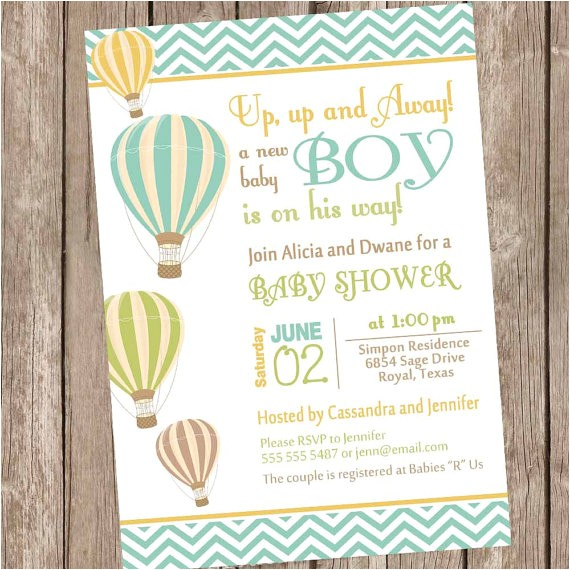 chevron hot air balloon baby shower