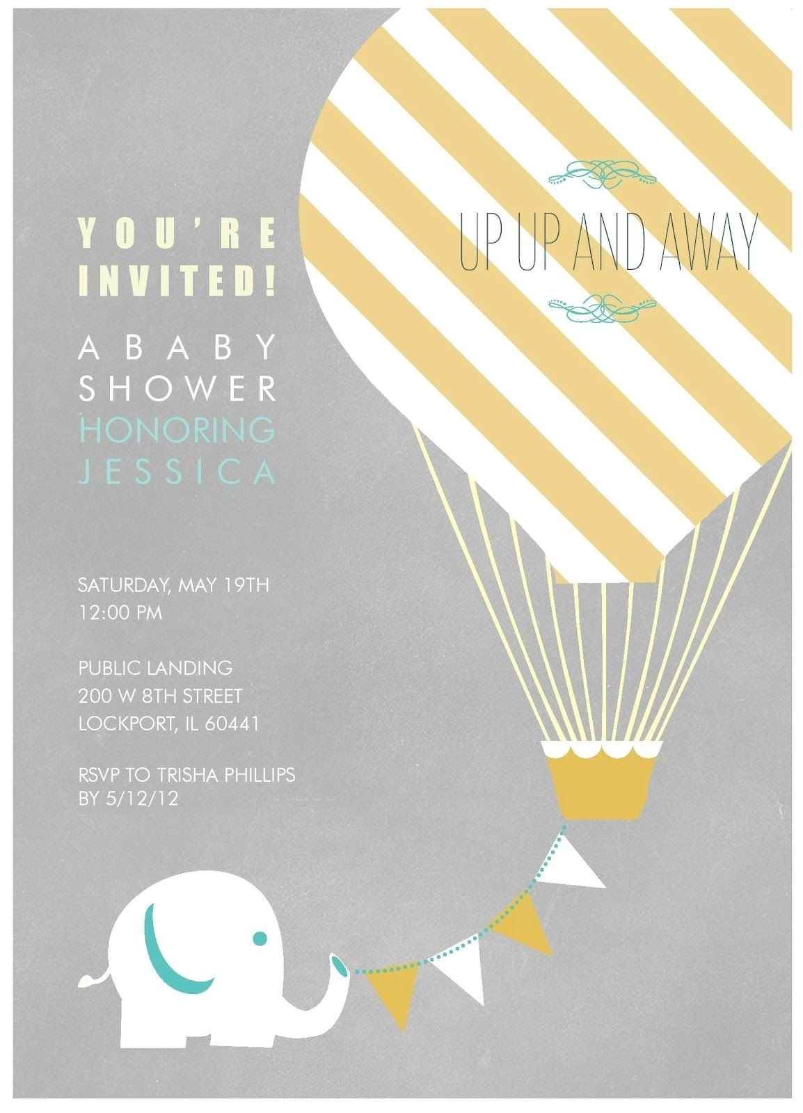 Hot Air Balloon themed Baby Shower Invitations Elephant with Hot Air Balloon Birthday Party Invitation