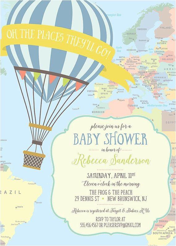 Hot Air Balloon themed Baby Shower Invitations Hot Air Balloon Baby Shower Invitation Yellow by