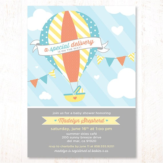 hot air balloon baby shower invitations