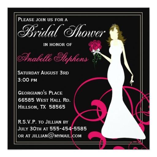 black and hot pink bridal shower invitation