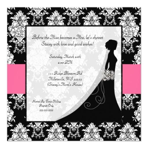 bridal shower invitations hot pink white damask