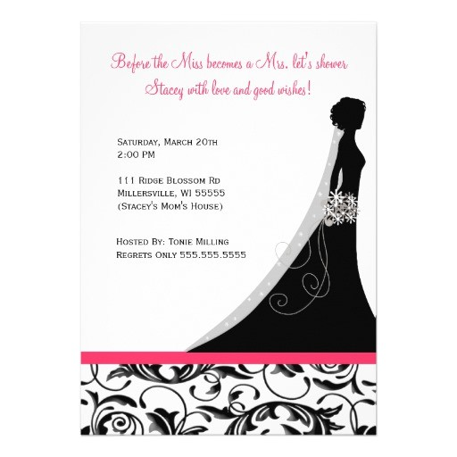bridal shower invitations hot pink damask