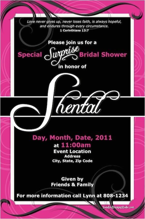 hot pink black bridal shower invitation wscripture