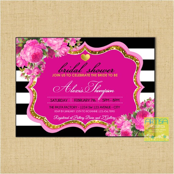 hot pink gold glitter black bridal