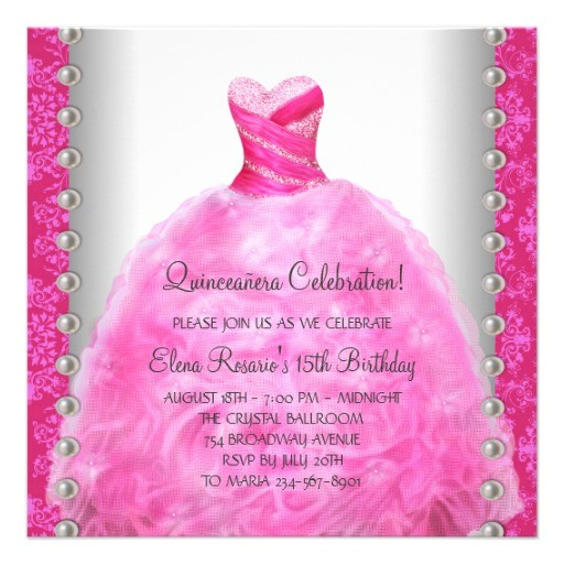 elegant hot pink quinceanera invitation 161319809842062569