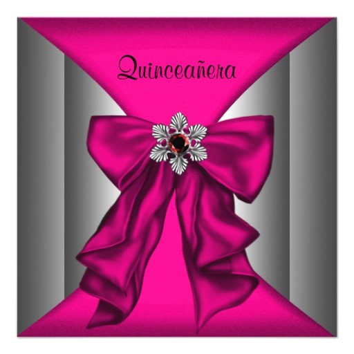 hot pink quinceanera hot pink birthday party invitation 161117626908419498
