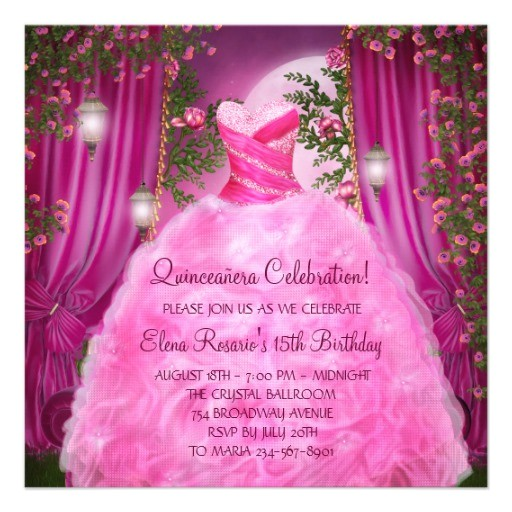 hot pink rose quinceanera invitation 161312103747985474