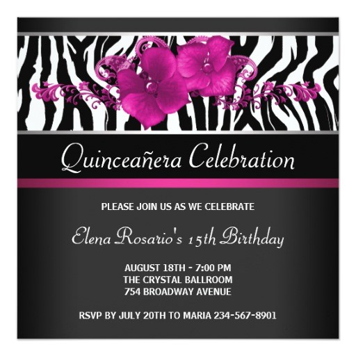 hot pink zebra quinceanera invitations 161081559921377497