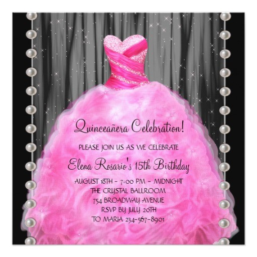 party dress pearls hot pink quinceanera invitation 161436014737840518