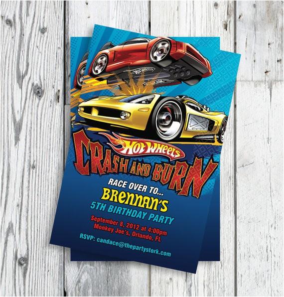 hot wheels car invitations printable boy