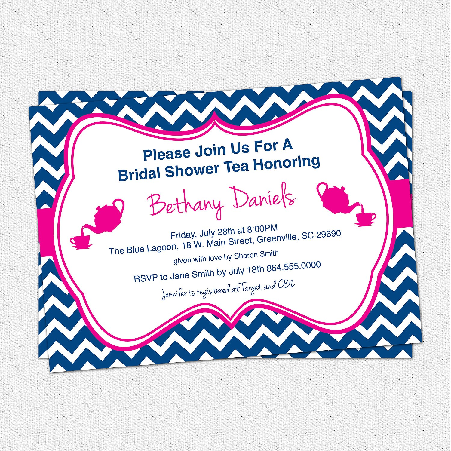 bridal baby shower birthday party invitations tea chevron housewarming