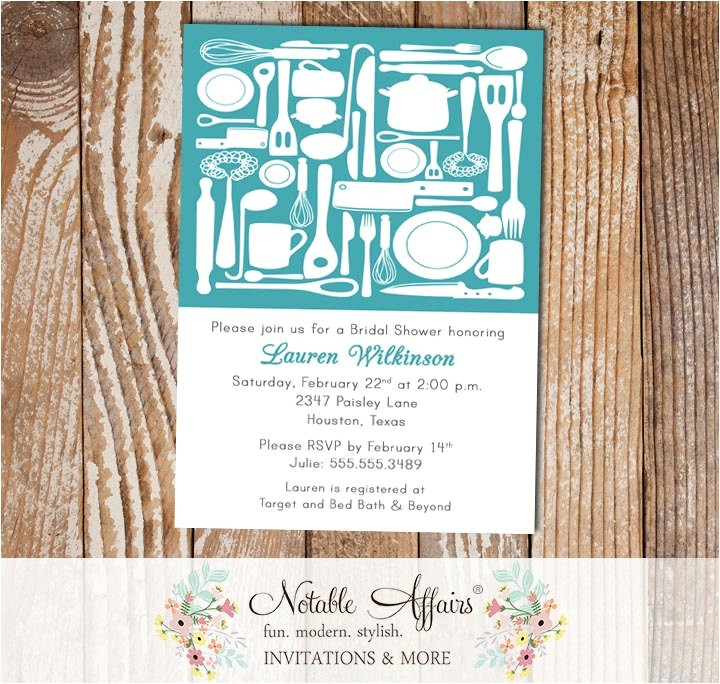 kitchen utensils housewarming party stock the house bridal shower couples shower wedding shower invitation