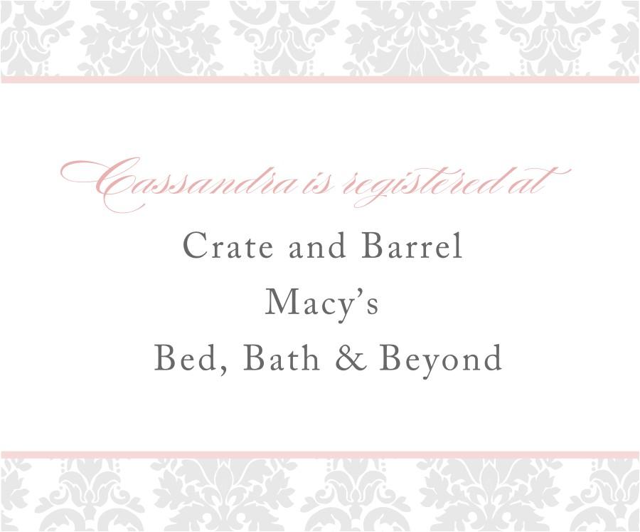 registry information on wedding invitations
