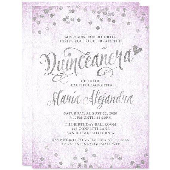 lavender silver quinceanera invitations diy printable