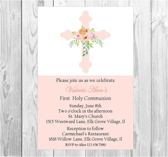 pink first munion invitation girls baptism
