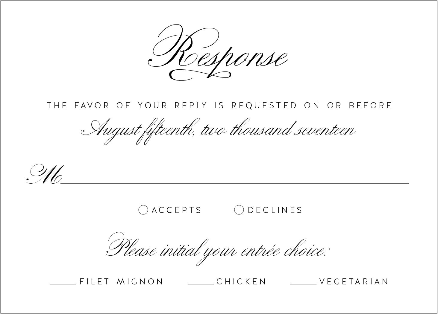 wedding response card wording buffet