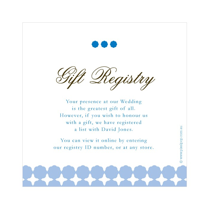 post wedding t registry cards