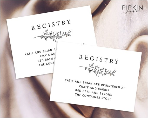 wedding registry template printable