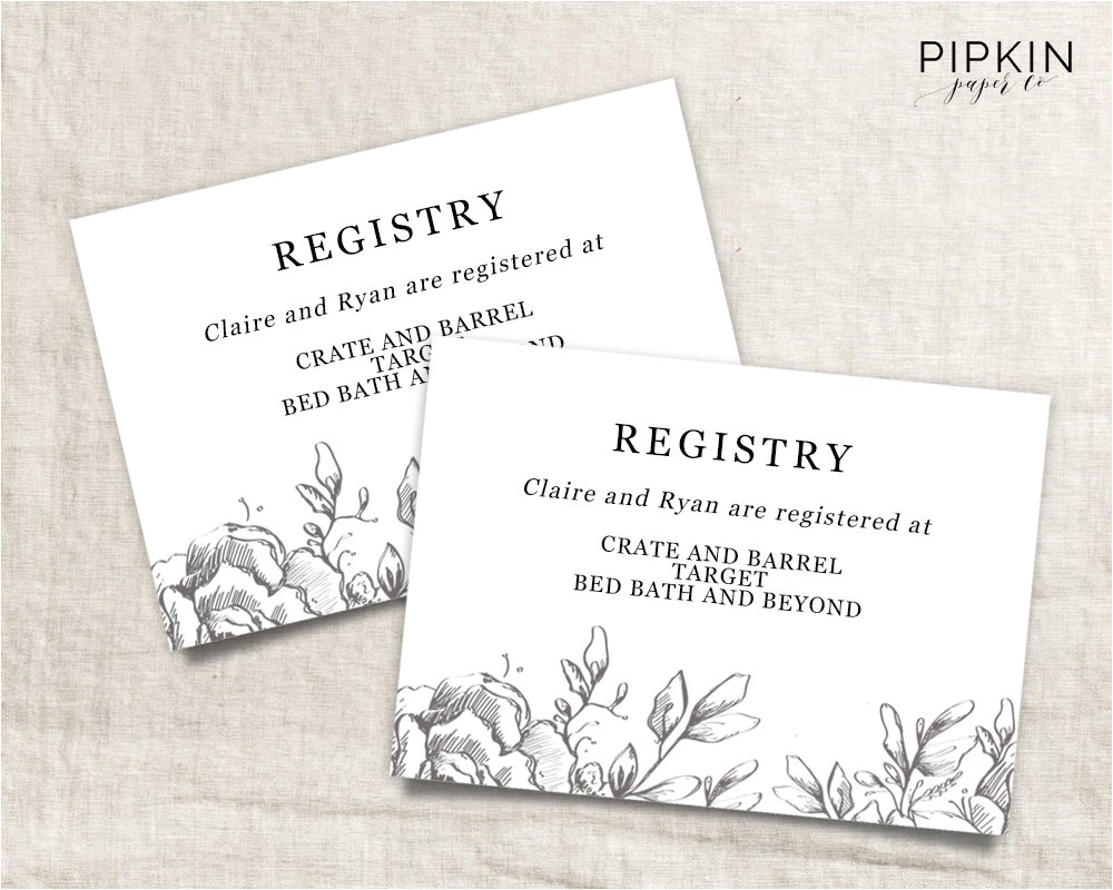 wedding registry card wedding info card