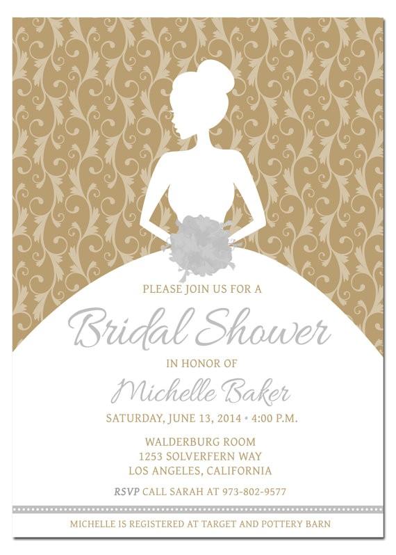 gold bridal shower invitations
