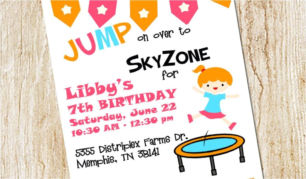 trampoline park birthday party invitations