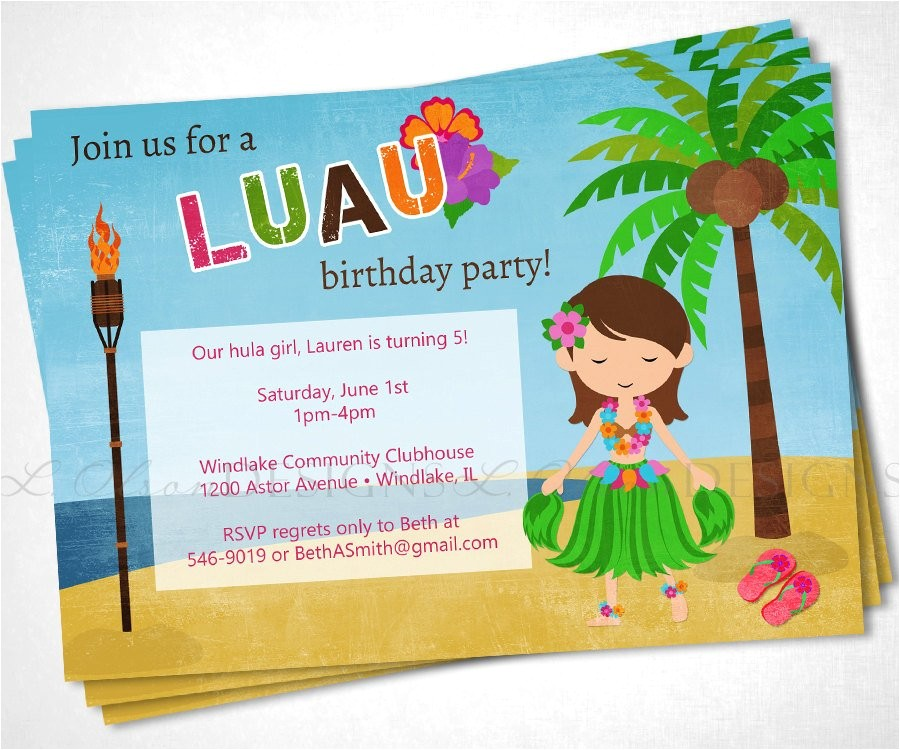 Hula Birthday Party Invitations Luau Hula Hawaiian Birthday Party Invite Diy Printable