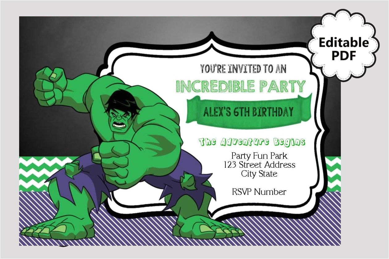 editable text hulk birthday invitation