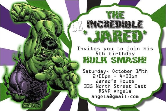 hulk birthday party invitation template