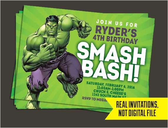 hulk invitation hulk birthday invitation