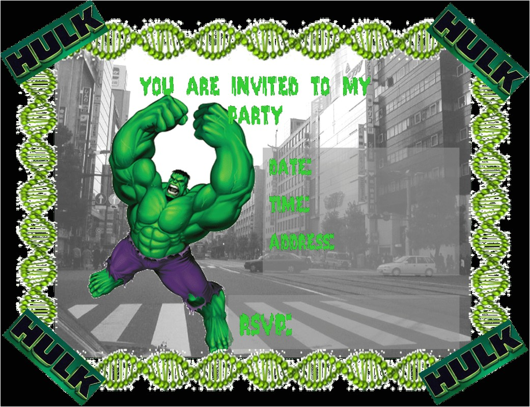 hulk party invitations