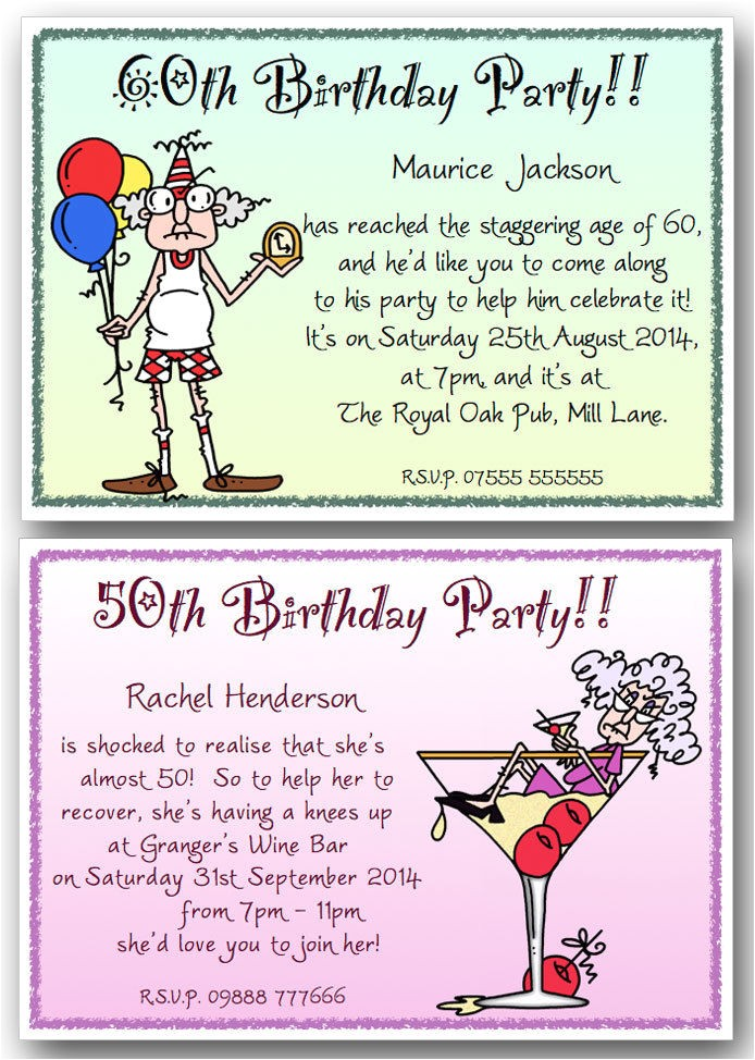 Humorous 70th Birthday Invitation Wording 40th 50th 60th 70th 80th 90th Personalised Funny Birthday