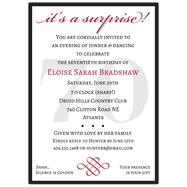 classic 70th birthday red surprise invitations p 607 57 70s