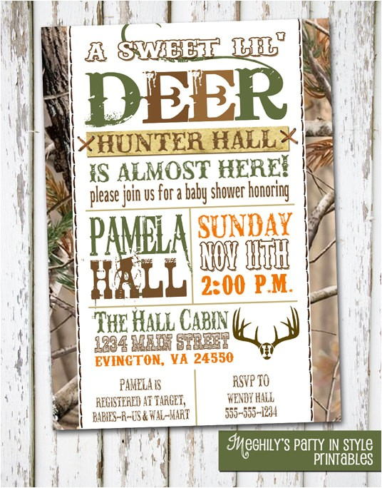Hunting themed Baby Shower Invitations Hunting theme Sweet Lil Deer Baby Shower Invitation by