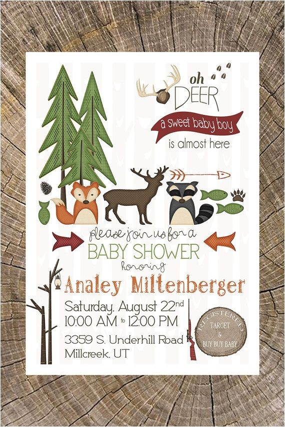 hunting themed baby shower invitations