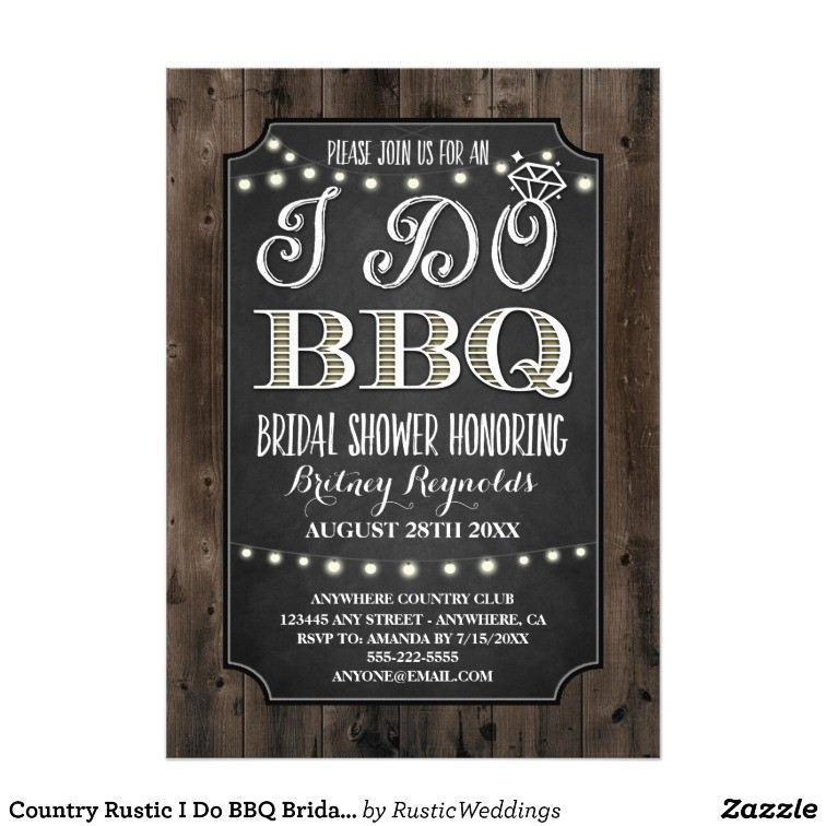 country rustic i do bbq bridal shower invitations 256565655197680931