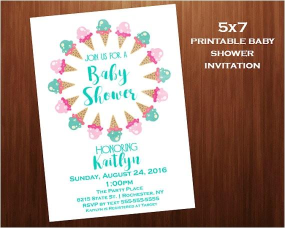 ice cream baby shower invitations mint