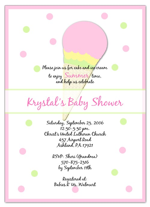 ice cream baby shower invitations