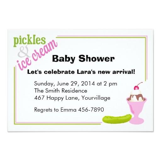 pickles ice cream baby shower invitations