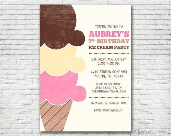 ice cream birthday party invitation 4
