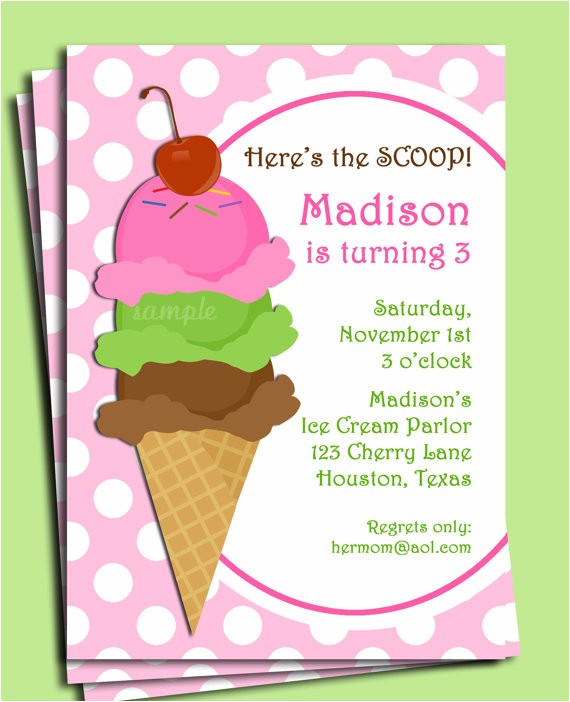 ice cream invitation printable pink bubble 2