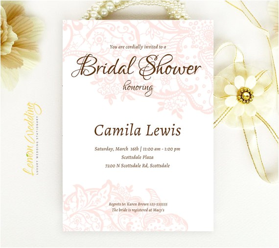 pink lace bridal shower invitations