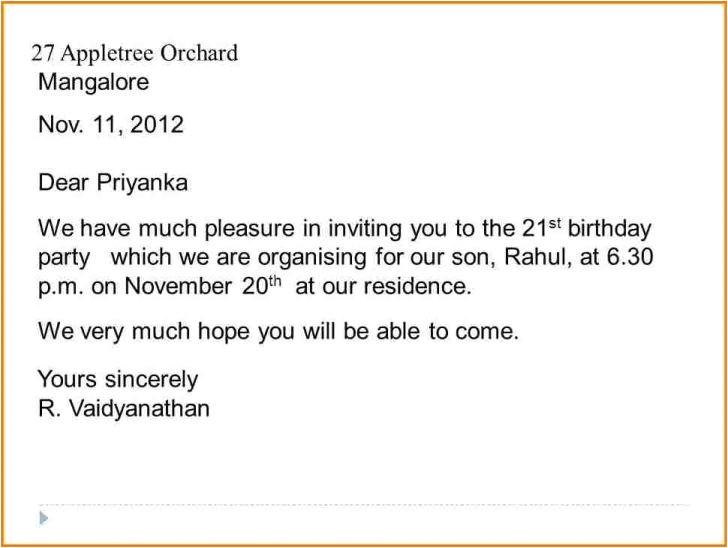 informal invitation letter for dinner party