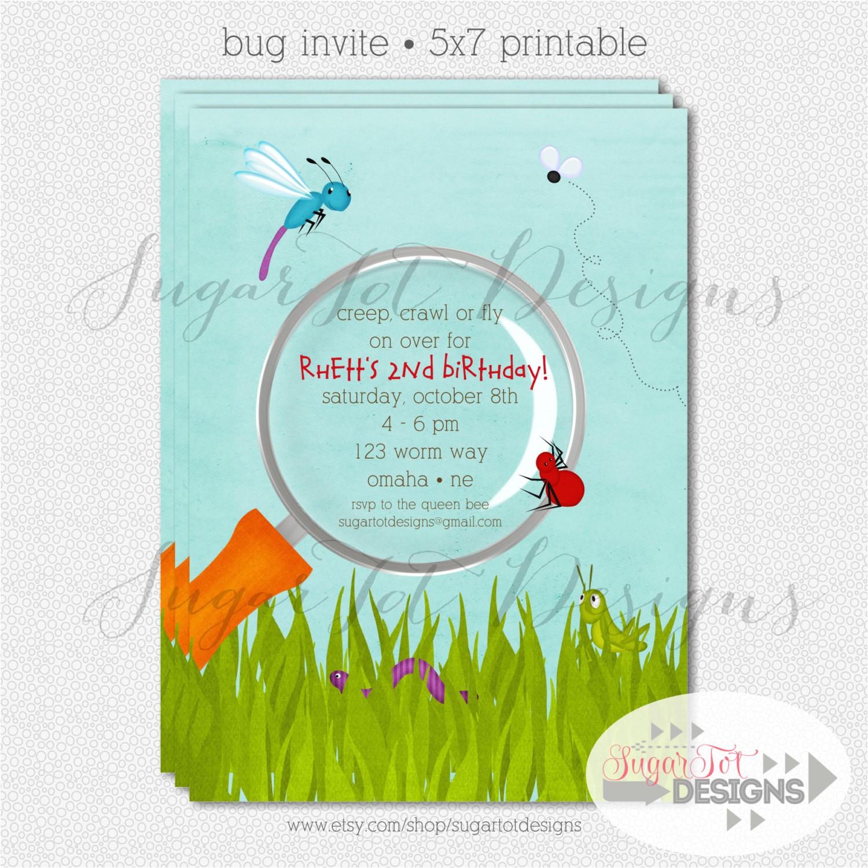 bug birthday party invitation bugs