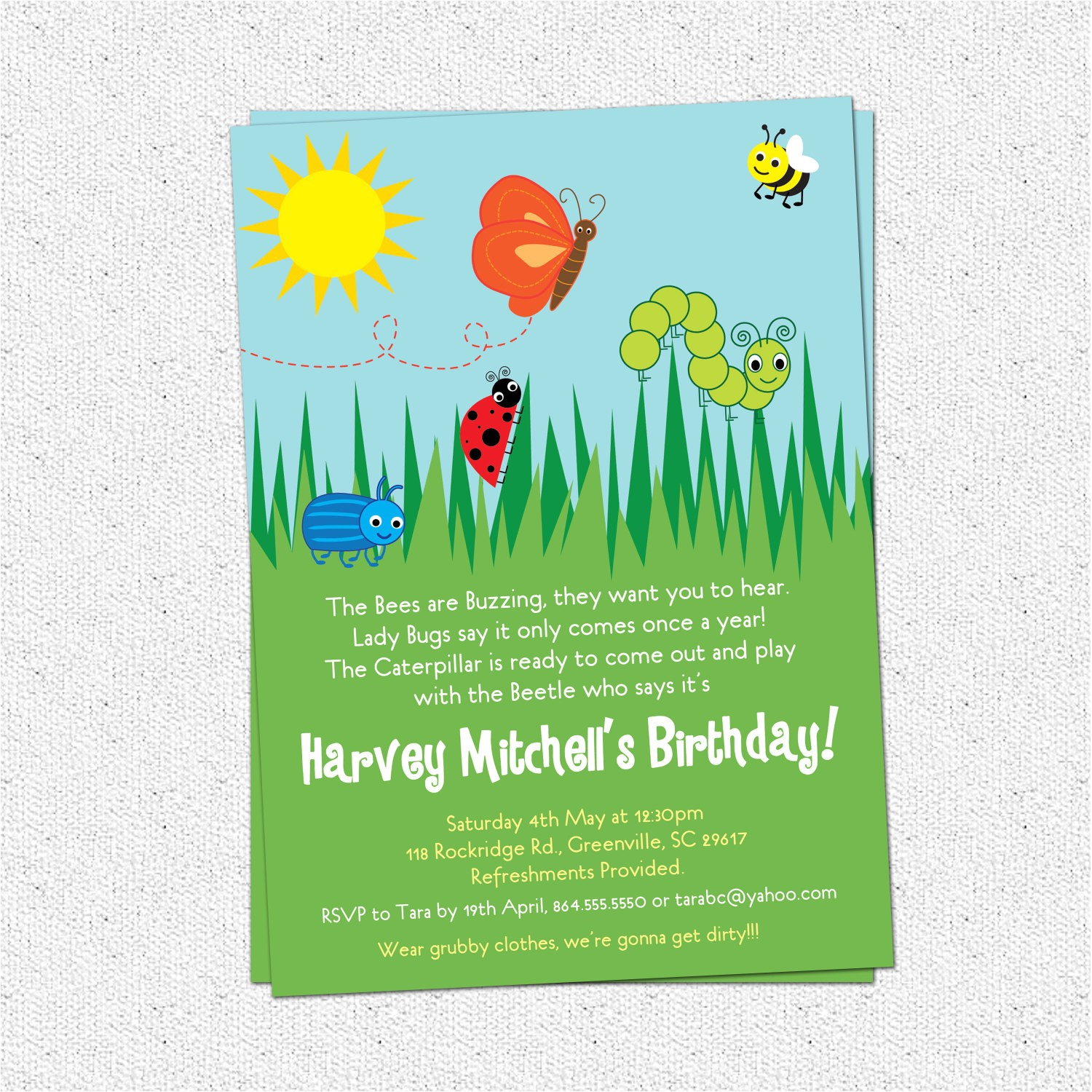 6809971 bug insects birthday party invitations summer butterfly bee beetle cate