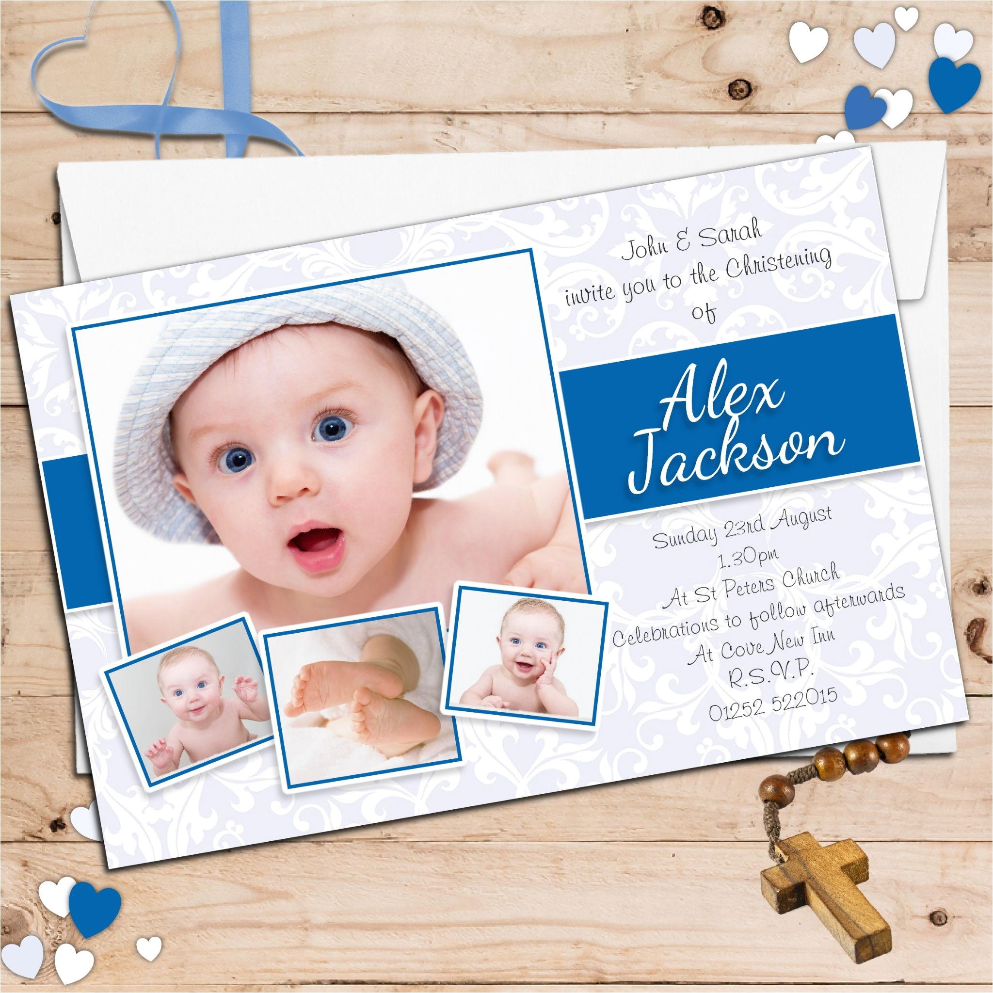 10 personalised boys christening baptism photo invitations n97 p