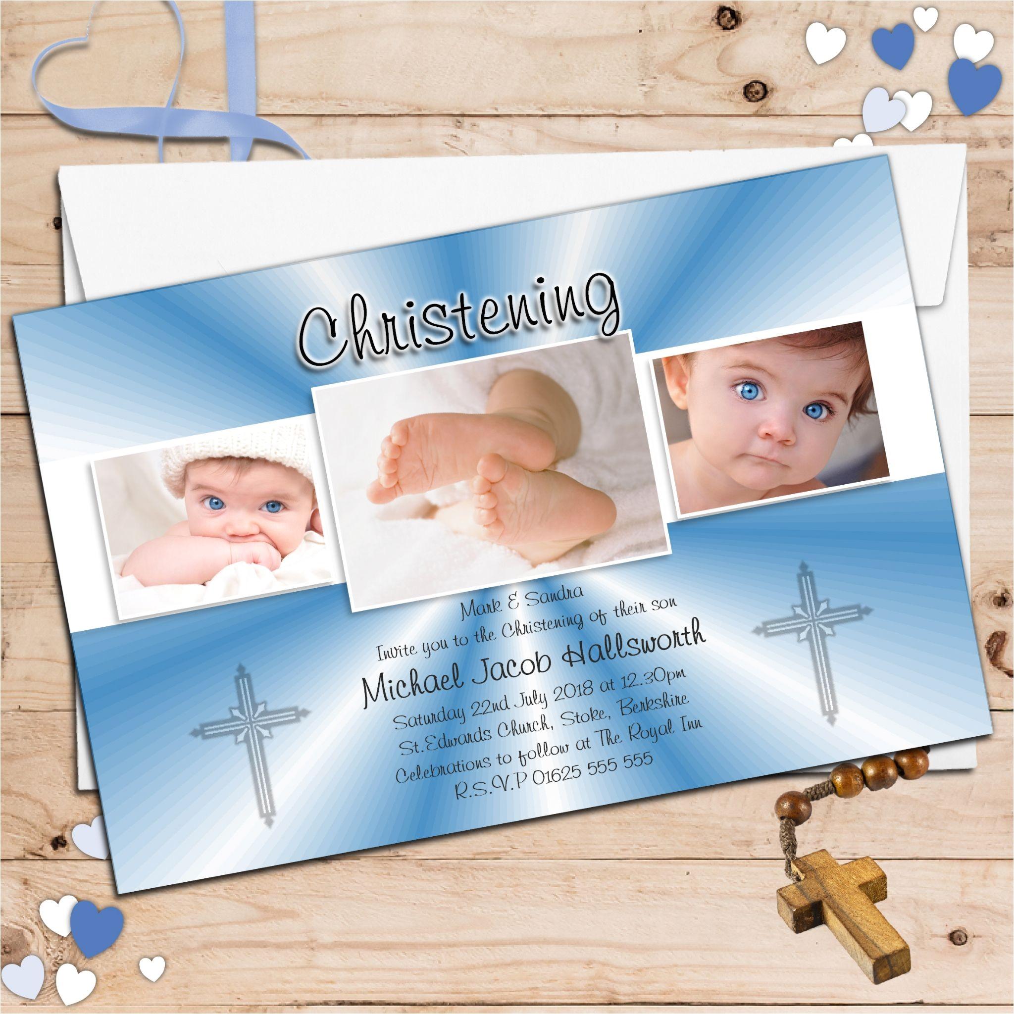 10 personalised boys christening baptism invitations photo invites n52 1718 p