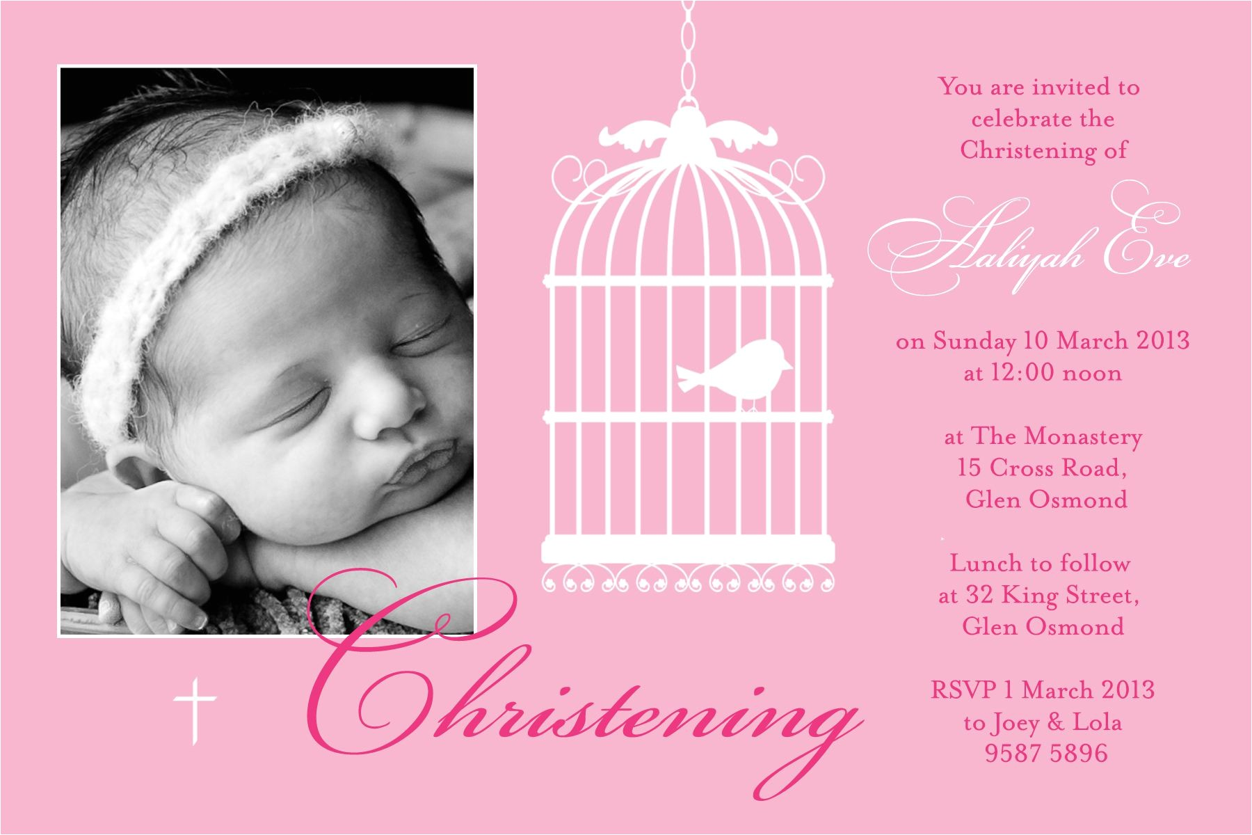 free christening invitation for baby girl